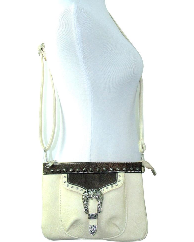 Savana Women's Faux Leather Distressed Crossbody Bag , Cream, hi-res