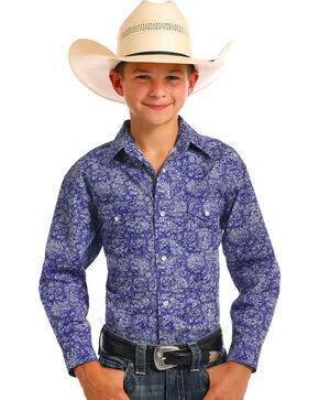 Rough Stock by Panhandle Boys' Blue Sherbrooke Print Shirt , Blue, hi-res