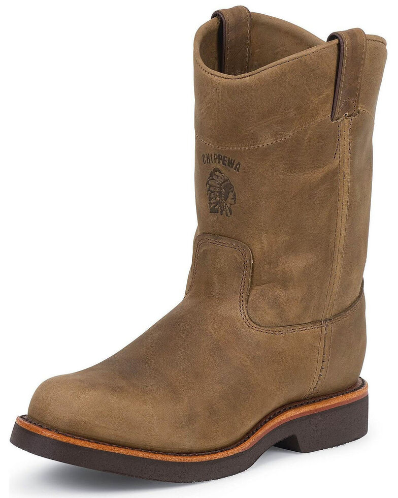 Chippewa Pull-On Work Boots - Round Toe, Tan, hi-res