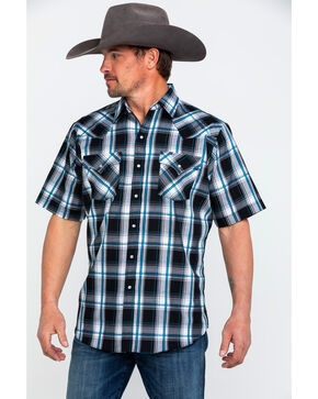 Ely Cattleman Men's Sawtooth Textured Plaid Short Sleeve Western Shirt , Black, hi-res