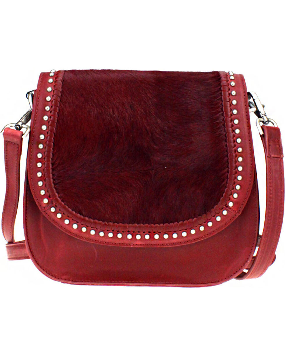 Montana West Delila Saddle Bag 100% Genuine Leather Hair-On Hide Collection in Burgundy, Burgundy, hi-res