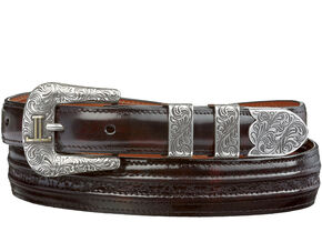 Lucchese Men's Black Cherry Goat with Hobby Stitch Leather Belt, Black Cherry, hi-res