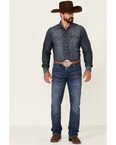 Wrangler Retro Men's Merrian Medium Wash Stretch Slim Bootcut Jeans , Blue, hi-res