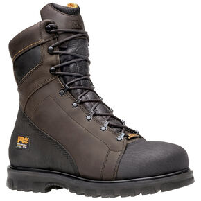 "Timberland Pro Men's 8"" Rigmaster Waterproof Boots - Steel Toe, Brown, hi-res"