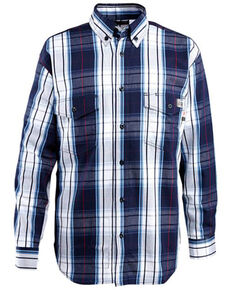 Wolverine Men's FR Navy Plaid Long Sleeve Twill Work Shirt , Navy, hi-res