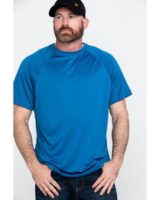 Hawx® Men's Blue Solid Performance Work T-Shirt , Blue, hi-res