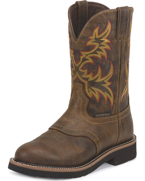 Justin Men's Stampede Waterproof Work Boots - Soft Round Toe, Brown, hi-res