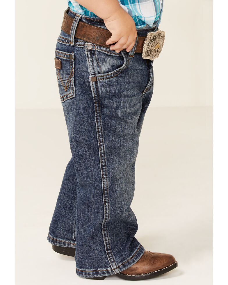 Wrangler Toddler Boys' Mustang Island Dark Stretch Relaxed Bootcut Jeans , Blue, hi-res