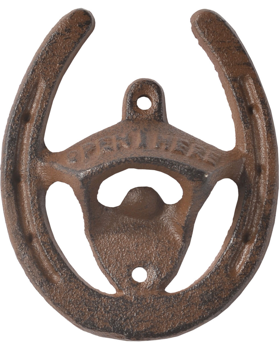 BB Ranch Cast Iron Horseshoe Wall Mount Bottle Opener, No Color, hi-res