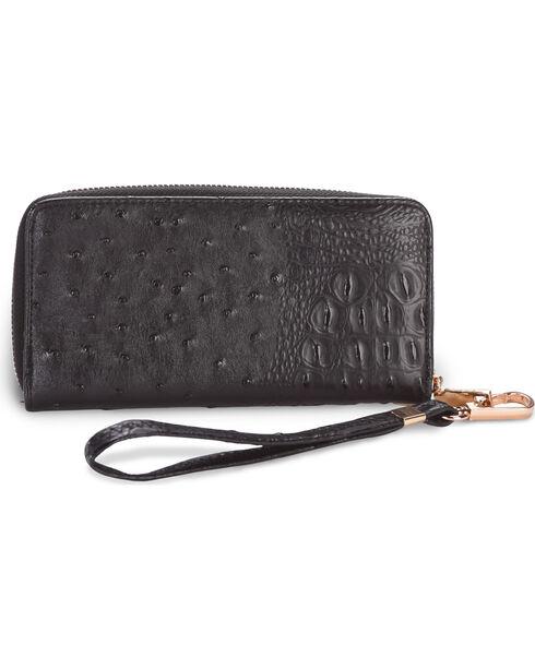 Wear N.E. Wear Women's Ostrich Print Handbag with Wallet, Black, hi-res