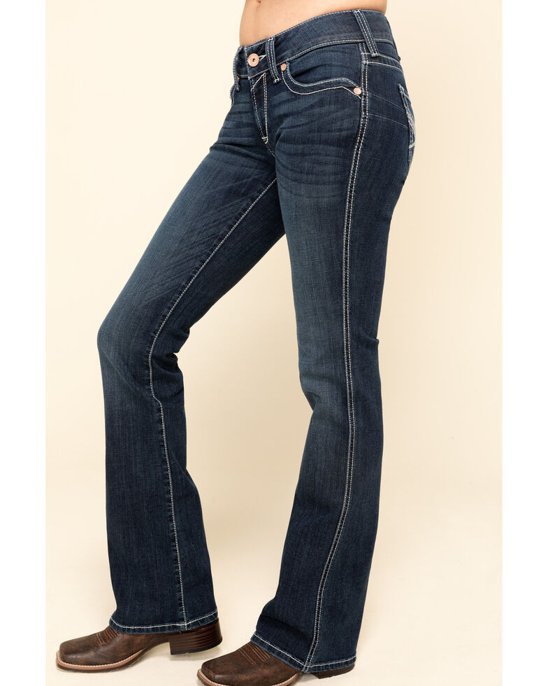 Ariat Women's Dark Wash Glitz Low Rise Bootcut Jeans , Blue, hi-res