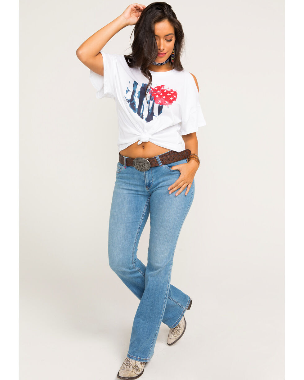 Z Supply Women's Americana Heart Cold Shoulder Tee, White, hi-res