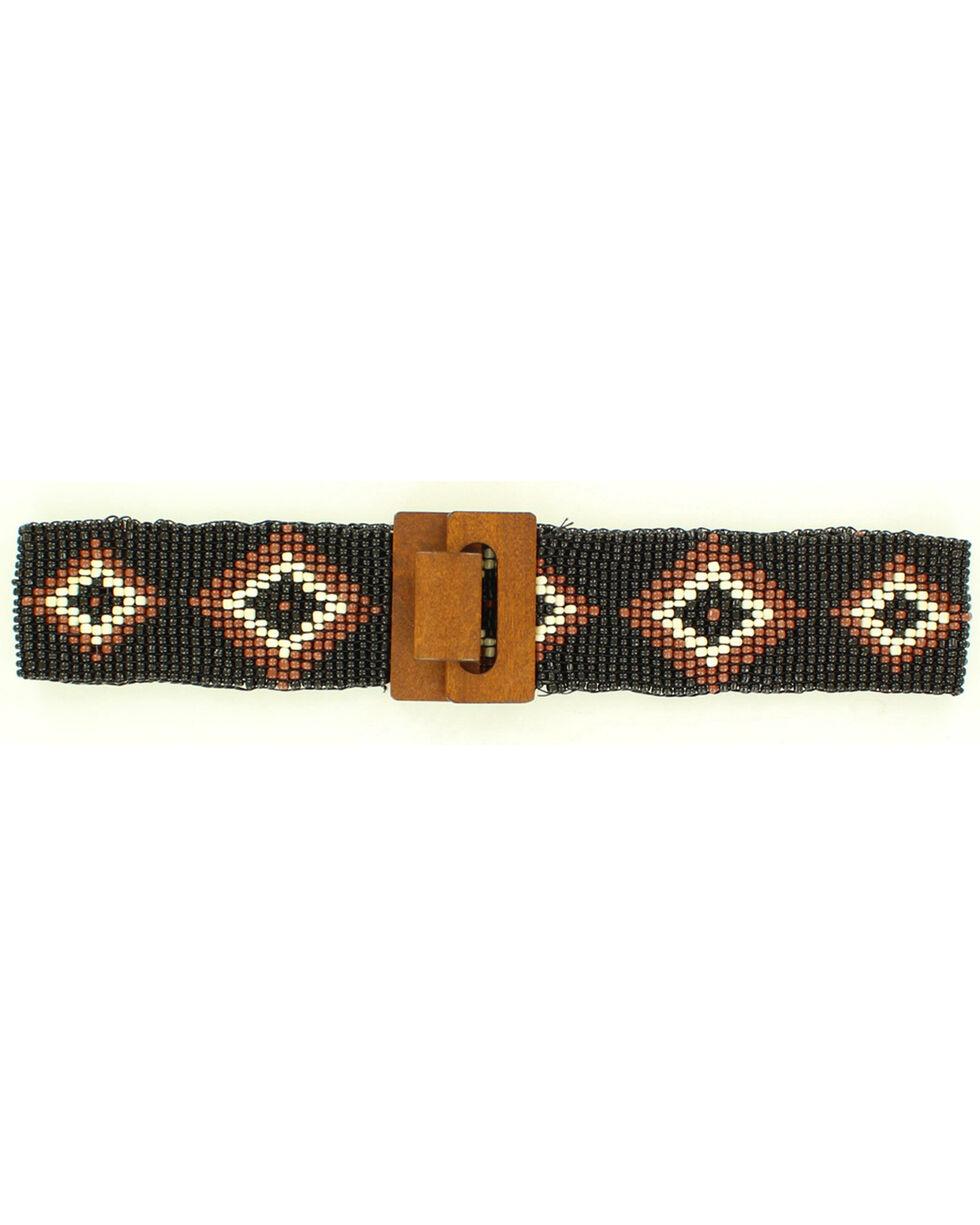 Nocona Diamond Beaded Stretch Belt, Black, hi-res