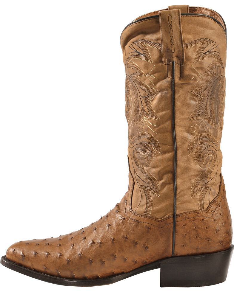 Dan Post Tempe Full Quill Ostrich Cowboy Boots -  Medium Toe, Saddle Tan, hi-res