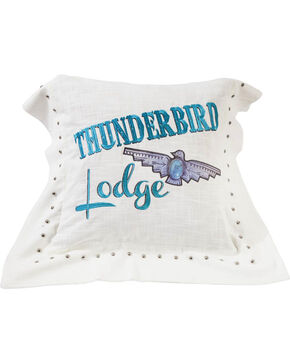 HiEnd Accents Thunderbird Linen Pillow , White, hi-res