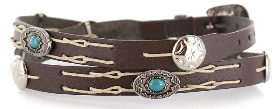 Cody James Navajo Concho Leather Hat Band, Chocolate, hi-res
