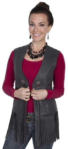 Scully Leatherwear Women's Long Fringe Vest, Black, hi-res