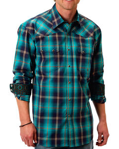 Roper Men's Plaid Western Long Sleeve Shirt, Turquoise, hi-res
