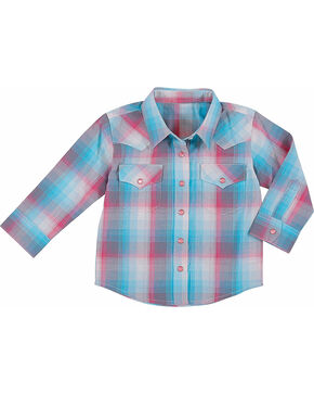 Wrangler Toddler Girls' Raspberry Plaid Long Sleeve Shirt , Turquoise, hi-res