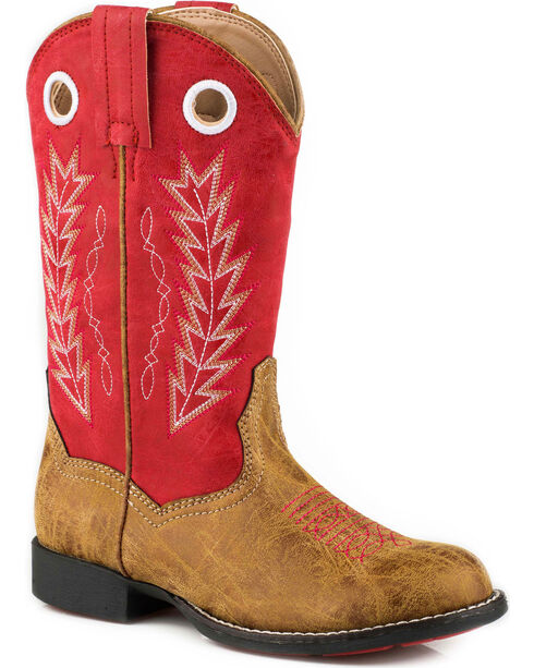 Roper Boys' Hole In The Wall Red Embroidered Cowboy Boots - Round Toe, Tan, hi-res