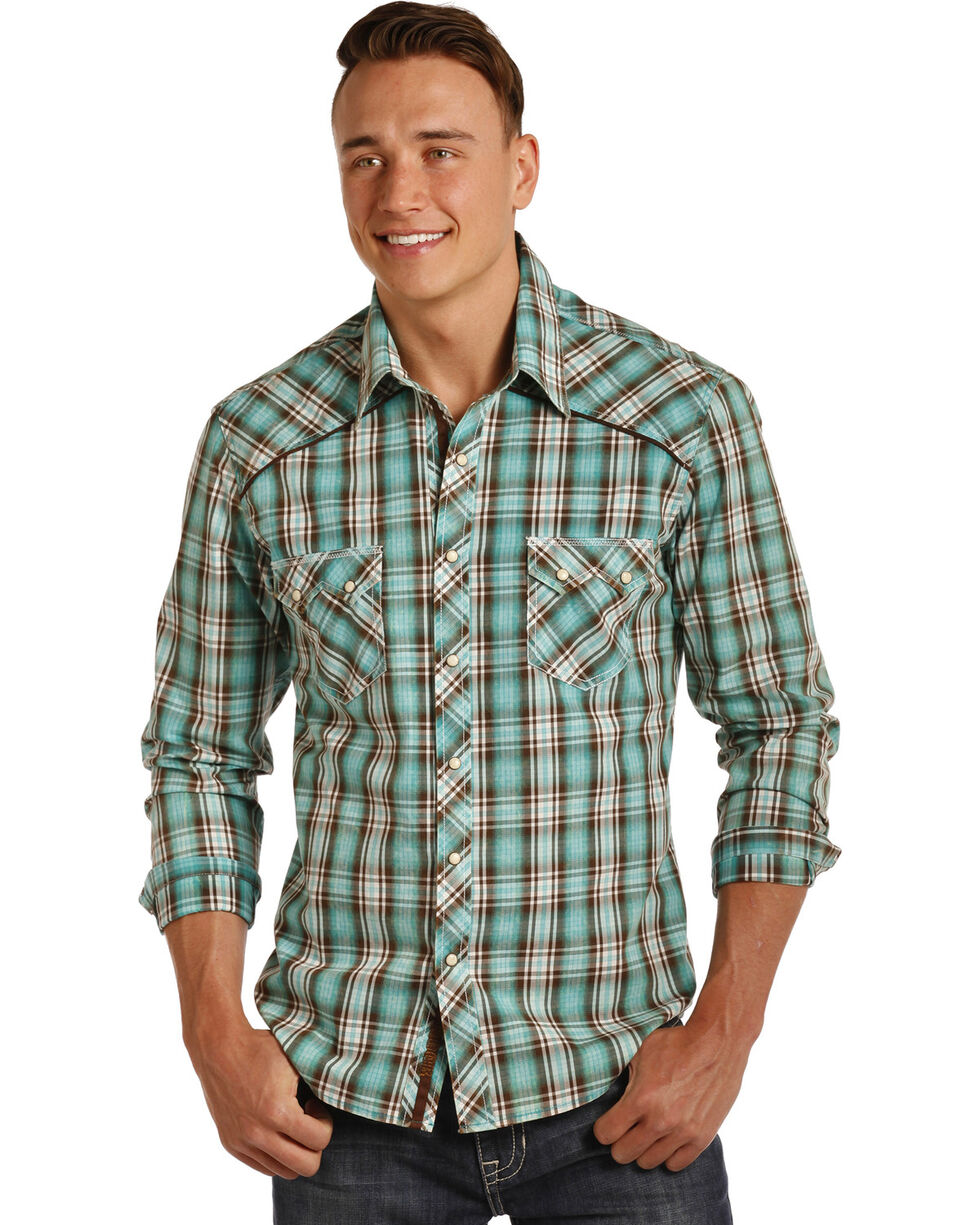 Rock & Roll Cowboy Men's Teal Bleach Washed Plaid Shirt , Teal, hi-res