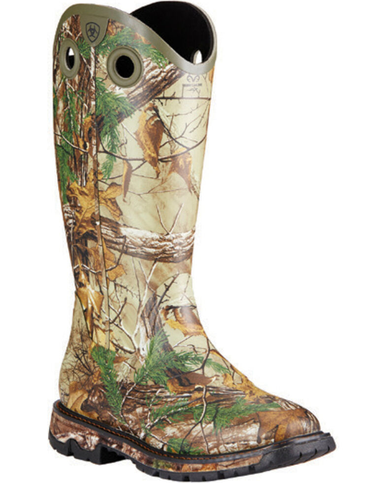 Ariat Men's Conquest Waterproof Insulated Rubber Buckaroo Boots - Square Toe, Camouflage, hi-res