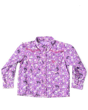 Cowgirl Hardware Toddler Girls' Country Floral Print Long Sleeve Western Shirt , Purple, hi-res