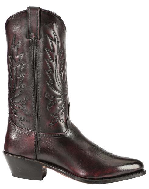 Abilene Black Cherry Polished Cowhide Boots - Medium Toe, Black Cherry, hi-res