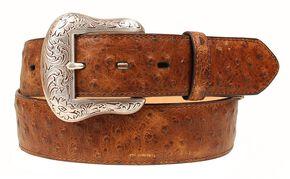 Nocona Vintage Ostrich Print Leather Belt, Brown, hi-res