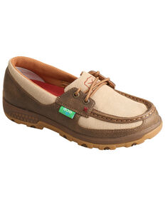 Twisted X Women's CellStretch Boat Shoes - Moc Toe, Beige/khaki, hi-res