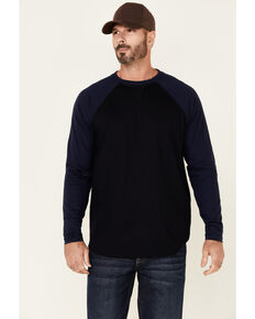 Cody James Men's FR Navy Color Blocked Baseball Long Sleeve Work Shirt , Navy, hi-res