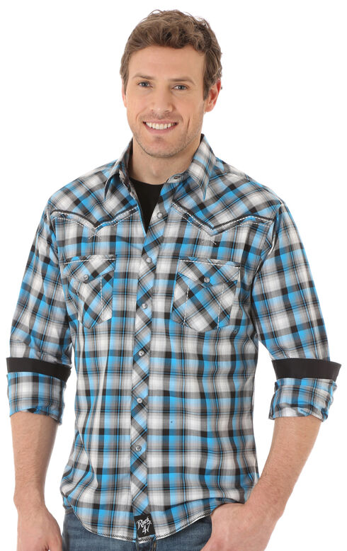 Wrangler Rock 47 Men's Teal & Black Western Shirt , Multi, hi-res