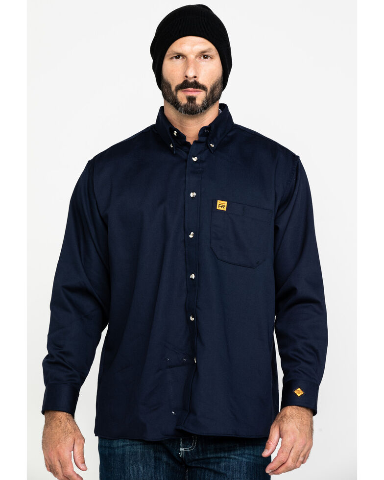 b24007313195 Zoomed Image Wrangler Riggs Men's FR Flame Resistant Solid Twill Work Shirt,  Navy, hi-res