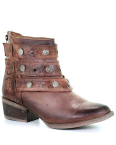 Circle G Women's Cognac Harness & Studs Ankle Boots - Round Toe, Cognac, hi-res