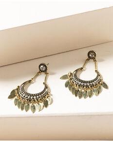 Shyanne Women's Gilded Gold Bling Hoop Fringe Earrings, Gold, hi-res