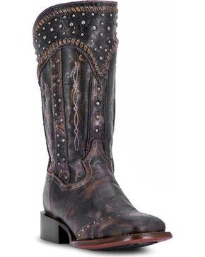 Dan Post Women's Black Amped Studded Zipper Boots - Square Toe , Black, hi-res