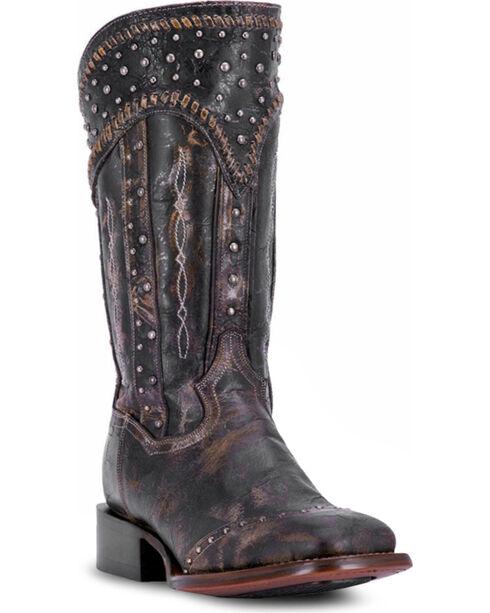 Dan Post Women's Black Amped Studded Zipper Boots - Square Toe , , hi-res
