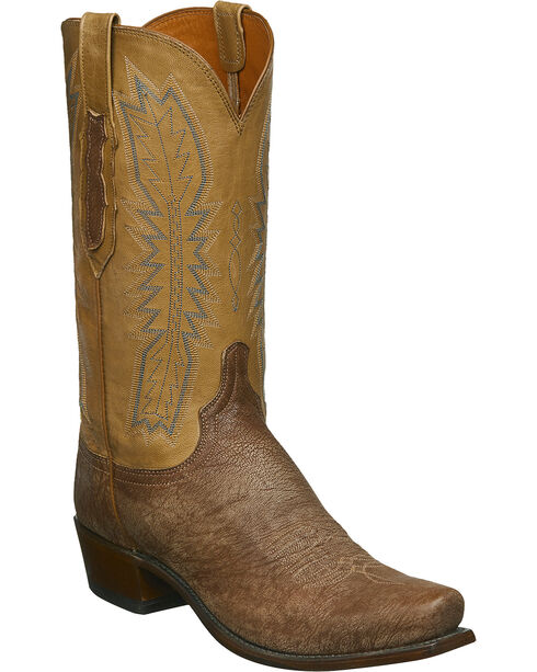 Lucchese Men's Handmade Harrison Tan Sueded Sheep Western Boots - Square Toe, Tan, hi-res