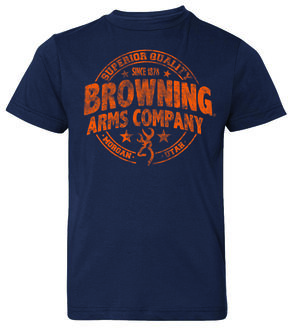 Browning Boys' Superior Quality Short Sleeve Tee, Navy, hi-res
