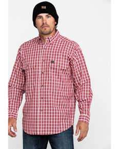 Wrangler Riggs Men's Foreman Plaid Long Sleeve Work Shirt , Red, hi-res