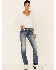 Miss Me Women's Feathery Fleur Medium Wash Straight Leg Jeans, Dark Blue, hi-res