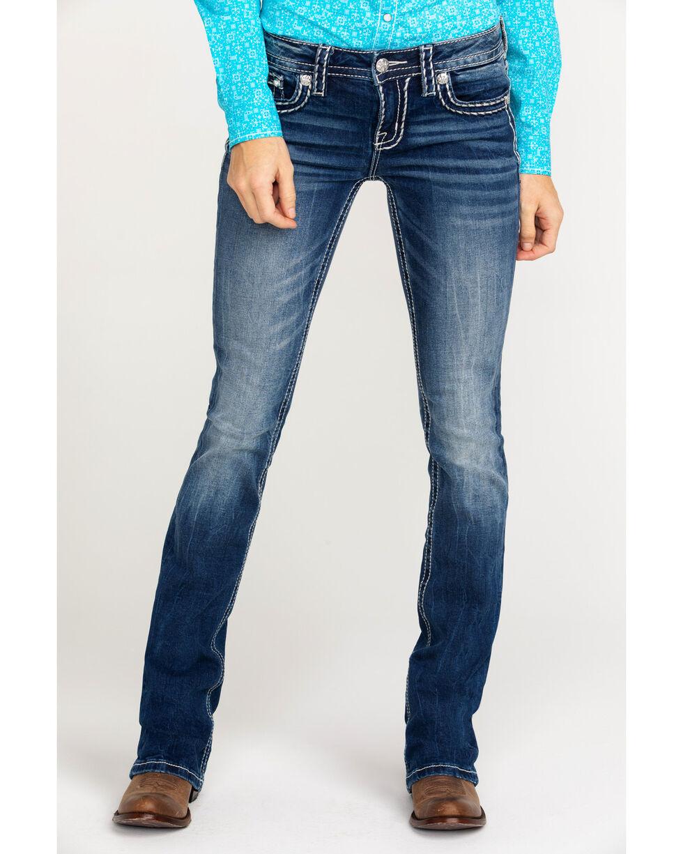 Miss Me Women's Sign Stitch Boot Cut Jeans , Blue, hi-res