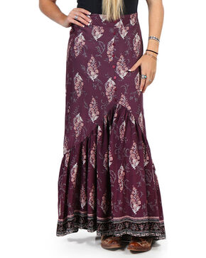 Luna Chix Women's Purple Floral Maxi Skirt , Purple, hi-res