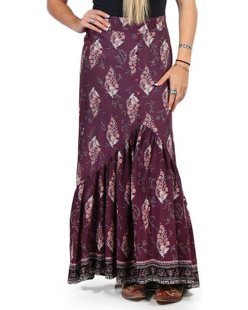 Luna Chix Women's Purple Floral Maxi Skirt , Purple, hi-res