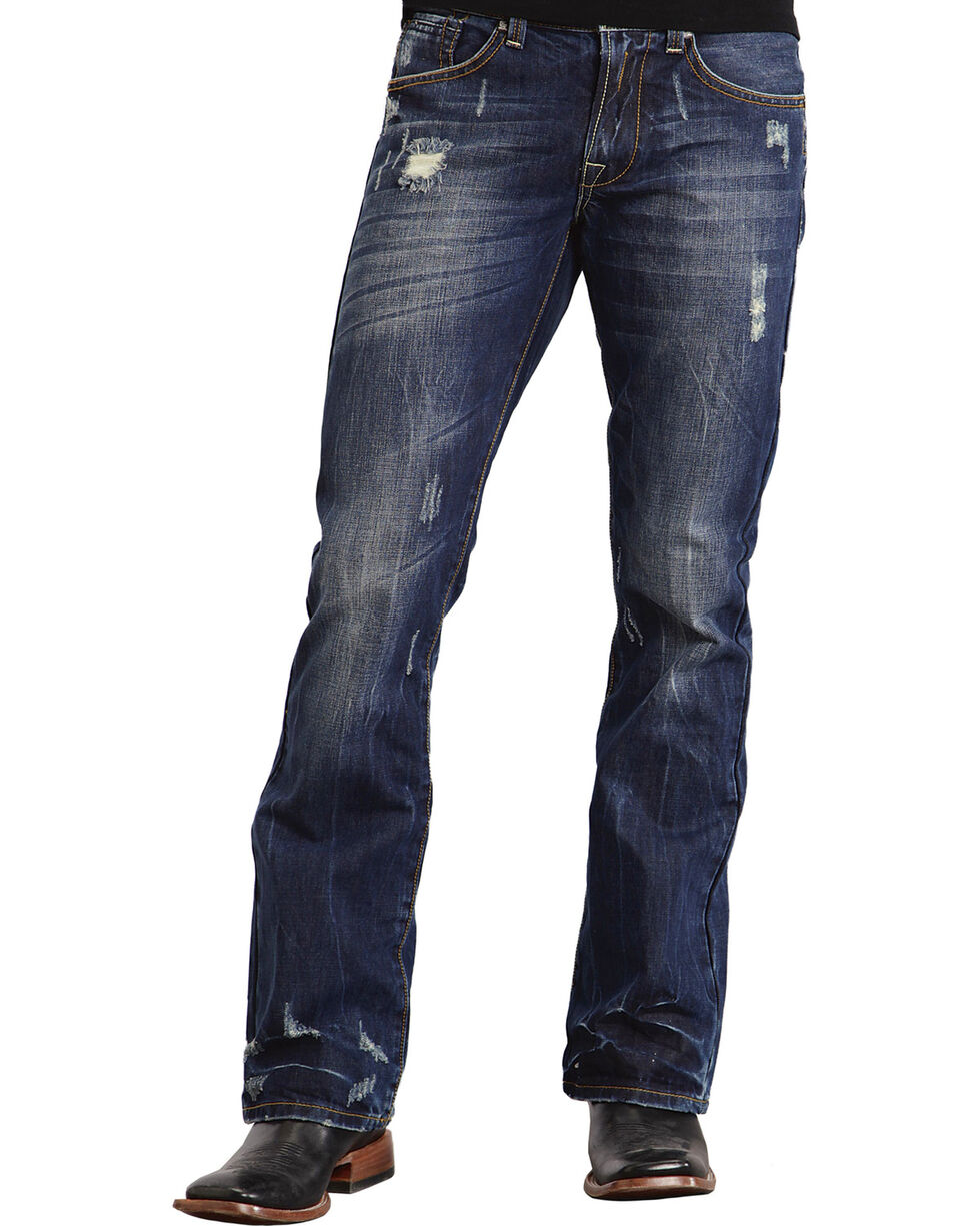 Stetson Rock Fit X Stitched Jeans - Big & Tall, Dark Stone, hi-res