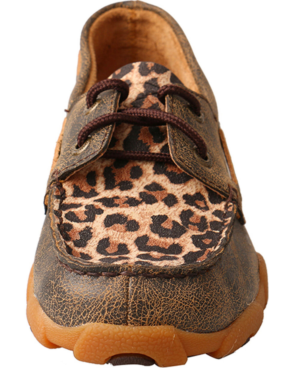 Twisted X Youth Girls' Brown Cheetah Moccasin Loafers , Brown, hi-res