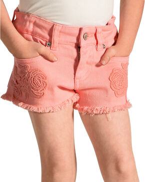 Shyanne Girls' Coral Denim Shorts with Floral Crochet Detailing, Coral, hi-res