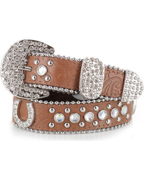 Shyanne Girls' Brown Horseshoe Bling Belt, Brown, hi-res