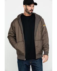 Ariat Men's Rebar Cold Weather Reversible Zip Work Hooded Sweatshirt - Big & Tall, Bark, hi-res