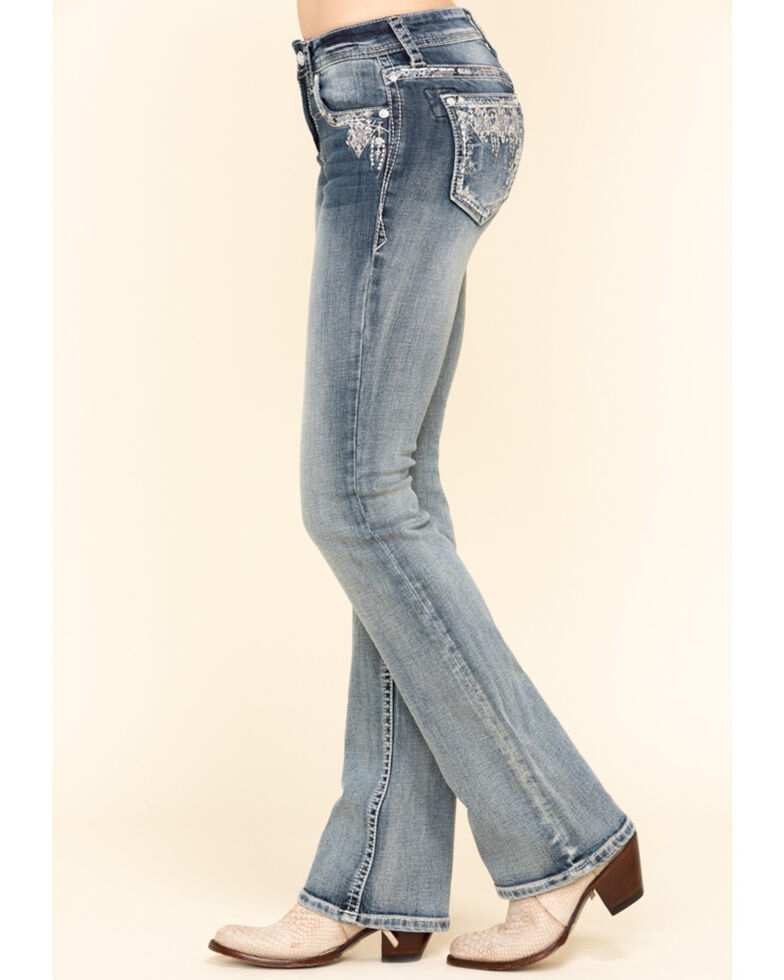 Grace in LA Women's Light Wash Deco Bootcut Jeans  , Blue, hi-res